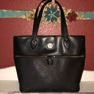 Anne Kline Black Leather Tote—EUC